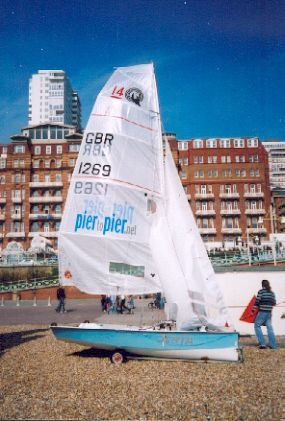 My boat with Piertopier logos on Main Sail